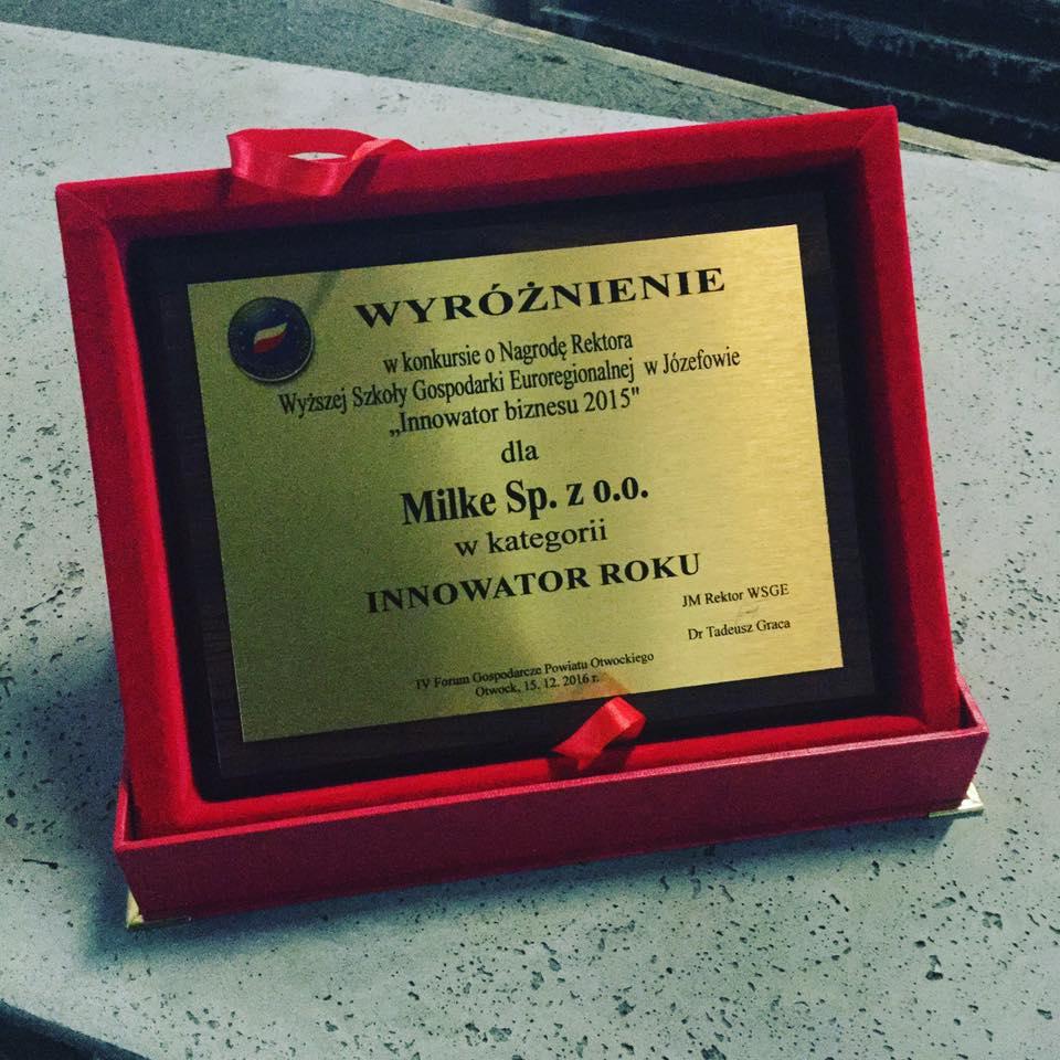 Wręczenie wyróżnienia dla MILKE - Innowator Roku 2015