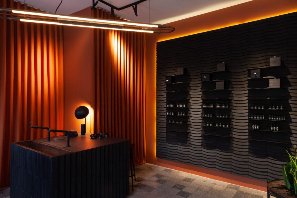 Kafle 3D WAVE z betonu architektonicznego - MILKE - TEKT Concrete - salon Purite