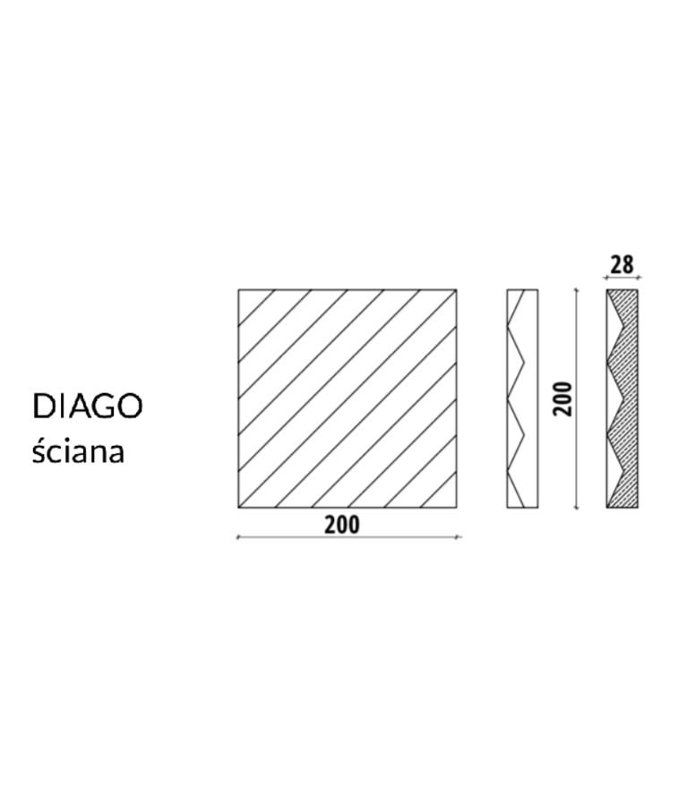 DIAGO 1 - linia TEKT Concrete - MILKE - wymiary