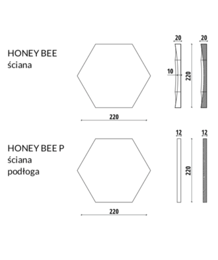 HONEY BEE - linia TEKT Concrete - MILKE - wymiary