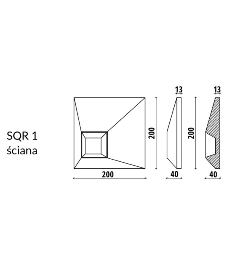 SQR 1 - linia TEKT Concrete - MILKE - wymiary