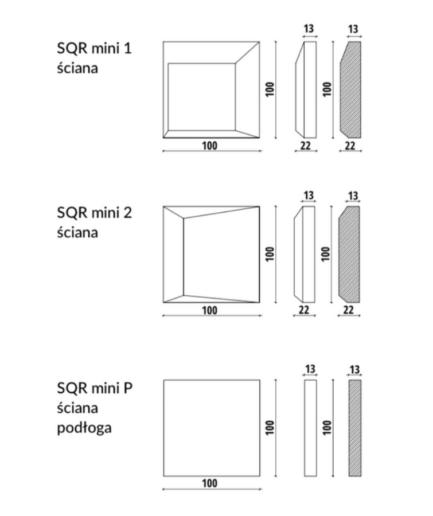 SQR mini - linia TEKT Concrete - MILKE - wymiary