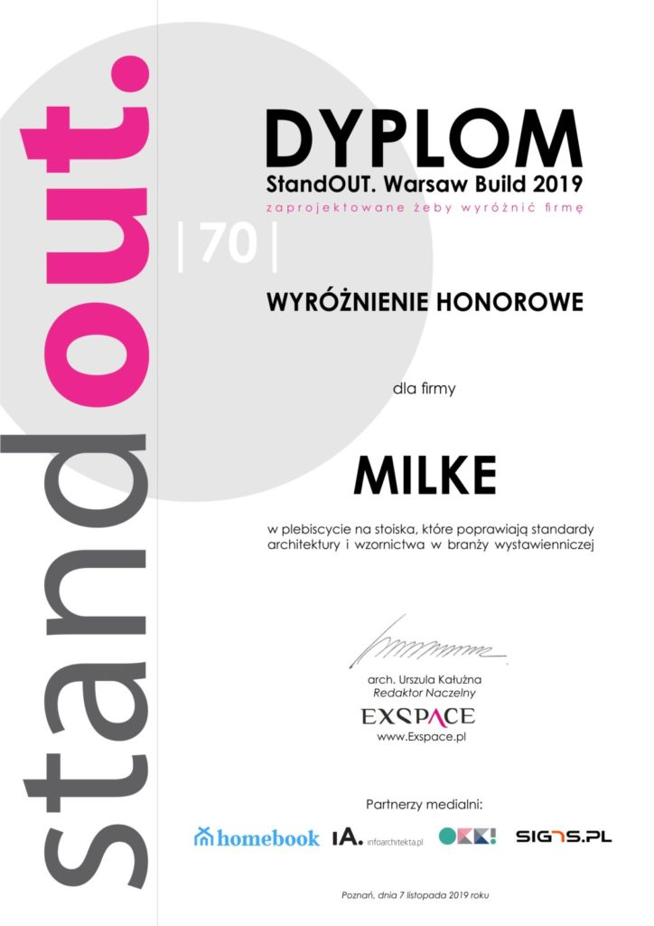 MILKE Dyplom - StandOUT Warsaw Home 2019