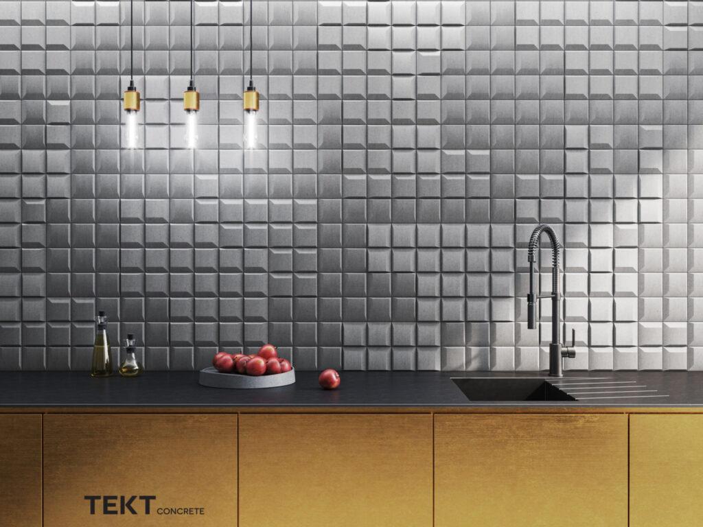 Kafle 3D - SQR mini - TEKT Concrete - kuchnia
