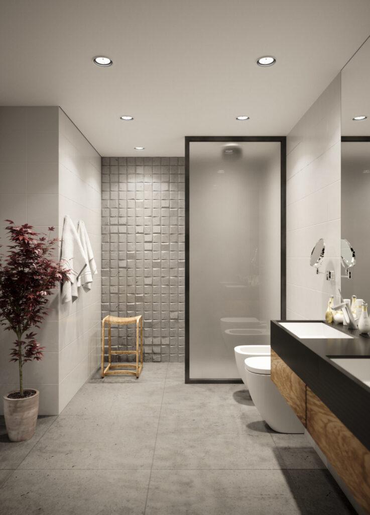 Kafle 3D - SQR mini - TEKT Concrete - łazienka