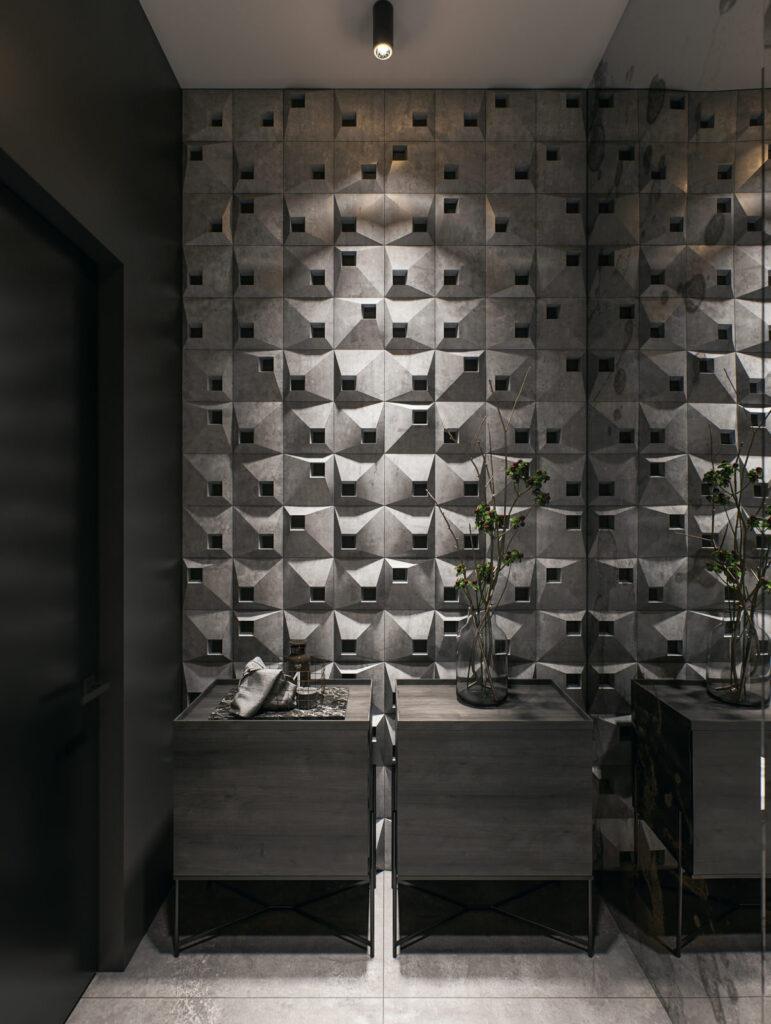 Kafle 3D HEXO - Tekt Concrete - wizualizacja La MIZA Architekci